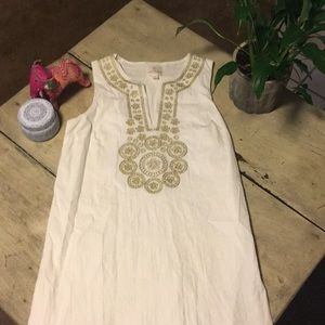 White Shift Dress with Gold embroidery